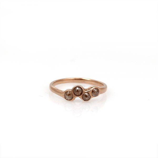 """Pippa Jayne Designs 14K Rose Gold & Diamond """"Moonlit Path"""" Ring"""