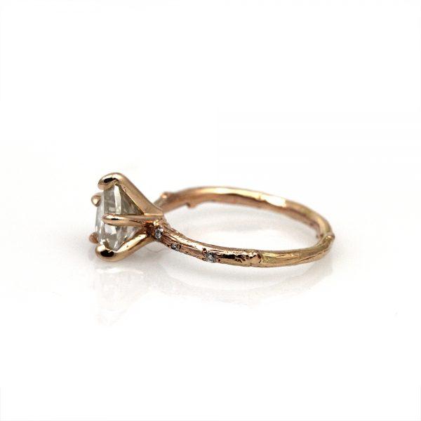 "Pippa Jayne Designs 14K Rose Gold Moissanite + Diamond ""Skinny Twig"" Solitaire"