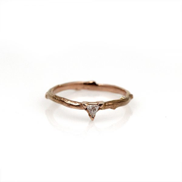 Pippa Jayne Designs 14K Rose Gold Trilliant Diamond Twig Ring