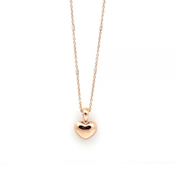 14K Rose Gold Tiny Heart Pendant