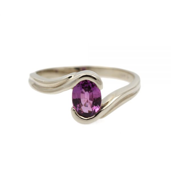 14K White Gold Pink Sapphire Bypass Ring
