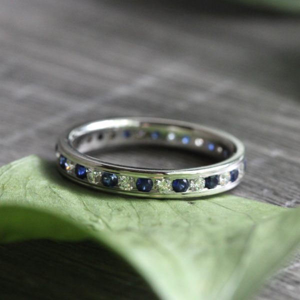 14K White Gold Diamond & Sapphire Eternity Band