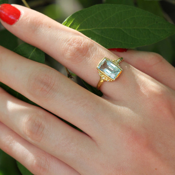 Rebecka Fröberg Aquamarine and Diamond Ring