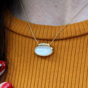 "Rebecka Fröberg Moonstone & Diamond ""Crescent Moon"" Necklace"