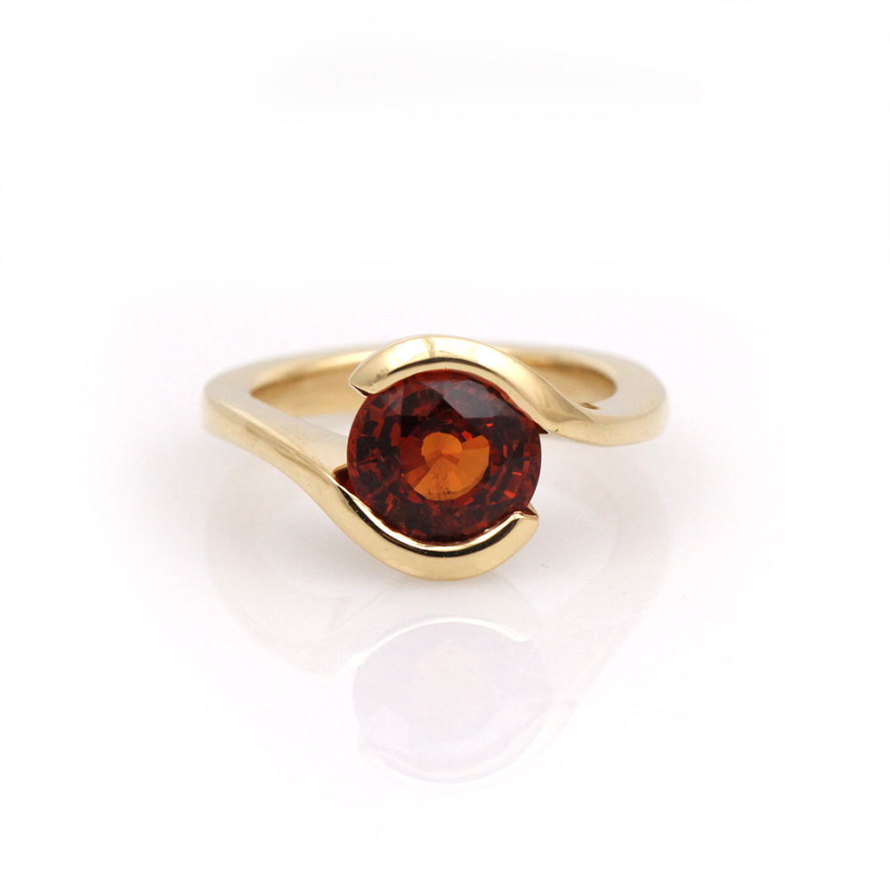 hand-carved handcarved garnet bypass handmade 18k yellow ring