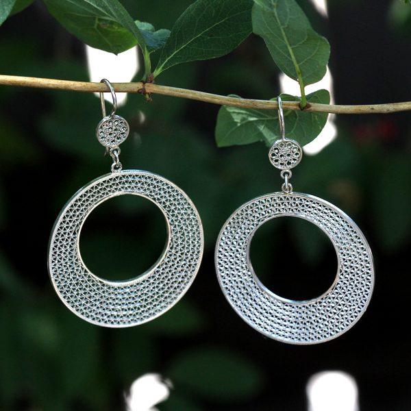 "Muxi Silver ""Woven Circles"" Earrings"