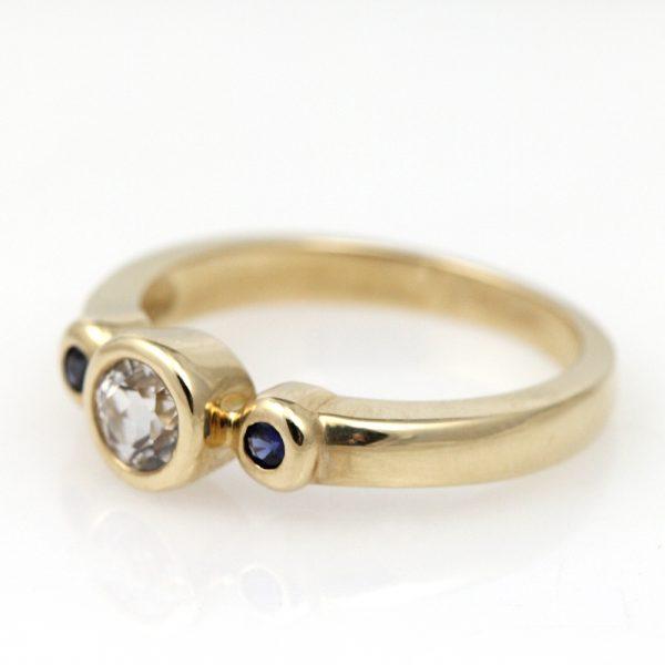 14K Yellow Gold Sapphire Three Stone Ring