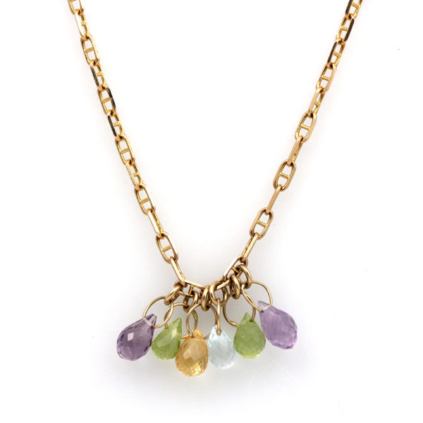 14K Yellow Gold Rainbow Briolette Necklace