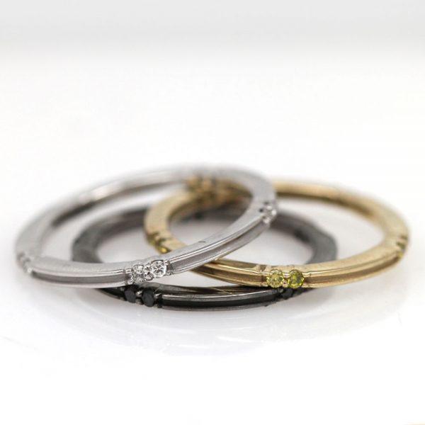 Arte*Vitta 14K Yellow Gold & Diamond Stacking Ring