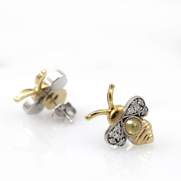 Arte*Vitta Two-Tone Diamond Bumble Bee Studs