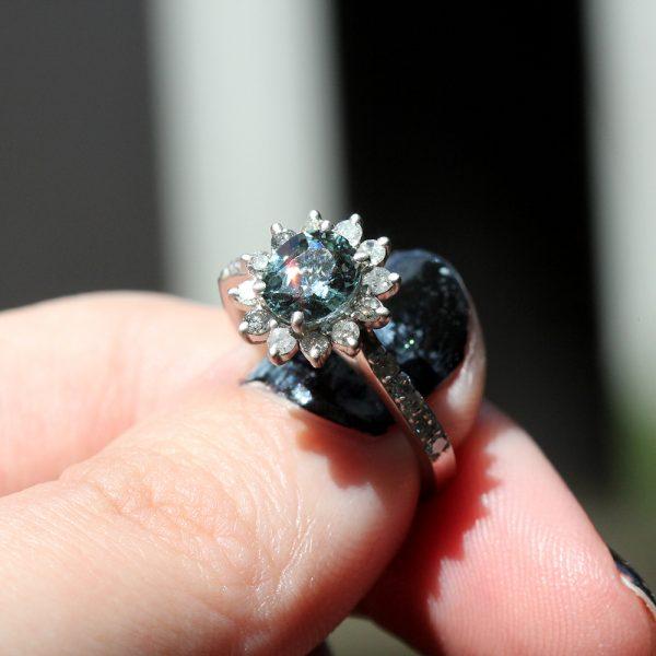 Arte*Vitta Platinum Grey Sapphire & Diamond Halo Engagement Ring