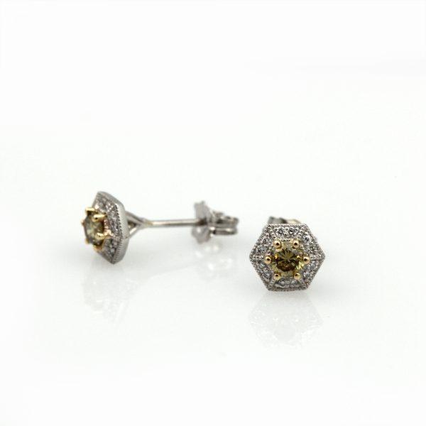 """Arte*Vitta Platinum & 18K Yellow Gold Diamond """"Honeycomb"""" Studs"""