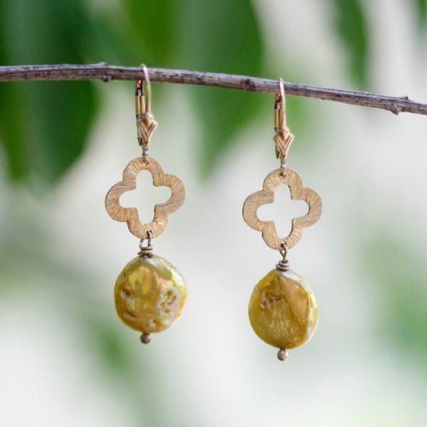 Barton Designs Golden Freshwater Pearl Earrings