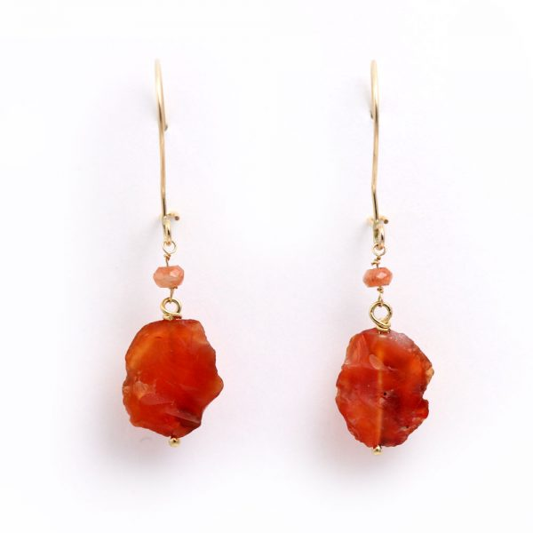 Arte*Vitta Raw Carnelian & Sunstone Earrings