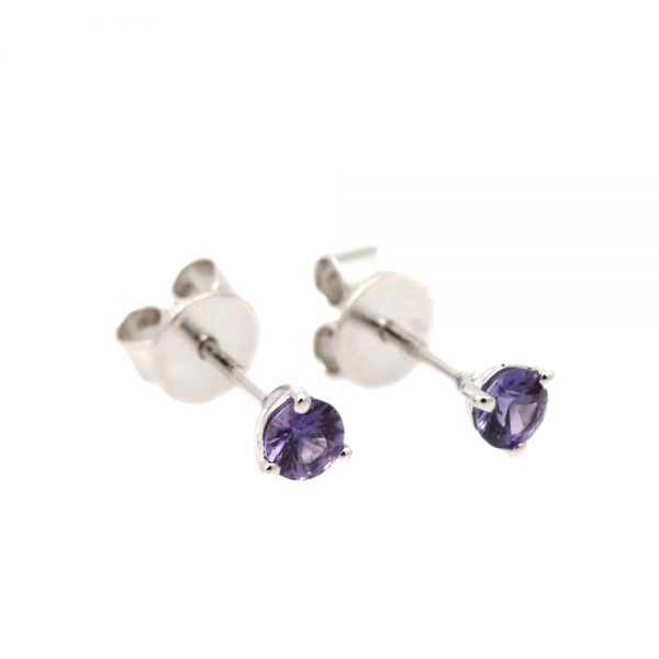 Sterling Silver + Purple Sapphire Studs