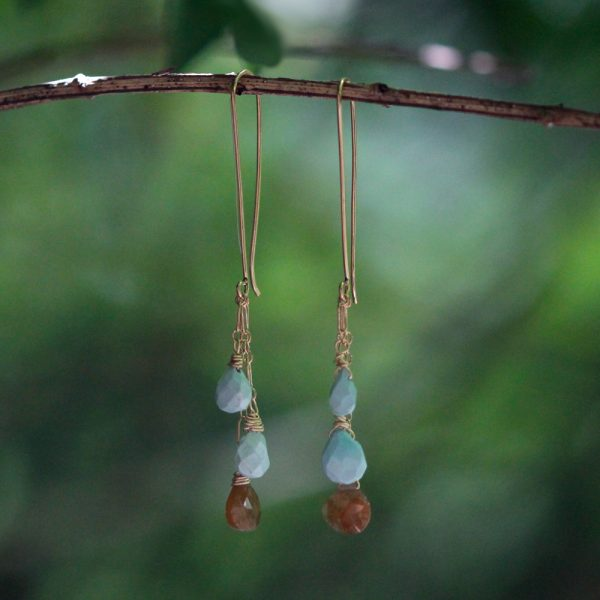 Barton Designs Turquoise and Yellow Sapphire Cascade Earrings