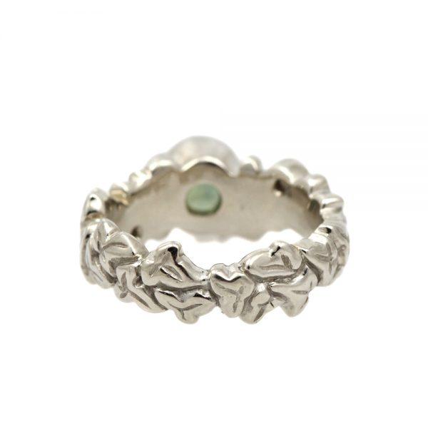 14K White Gold Green Sapphire & Diamond Botanical Ring