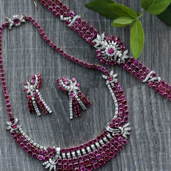 Vintage Retro Modern Ruby & Diamond Bib Necklace