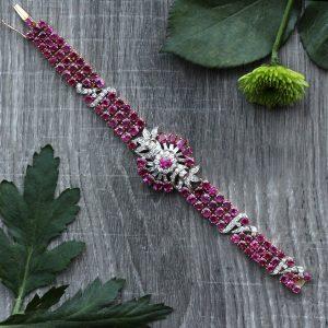 Vintage Retro Modern Ruby & Diamond Bracelet