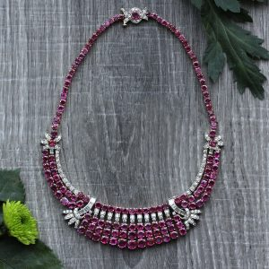 Vintage Retro Modern Ruby & Diamond Bib Necklace