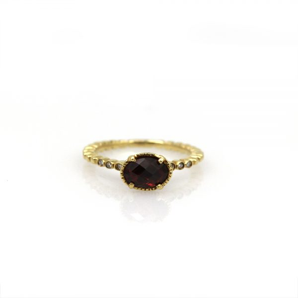 Diana Heimann 18K Yellow Gold Garnet & Diamond Ring