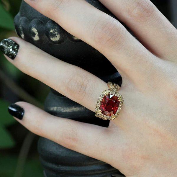 "Arte*Vitta Burmese Spinel & Diamond Pave ""Natural Wonder"" Ring"