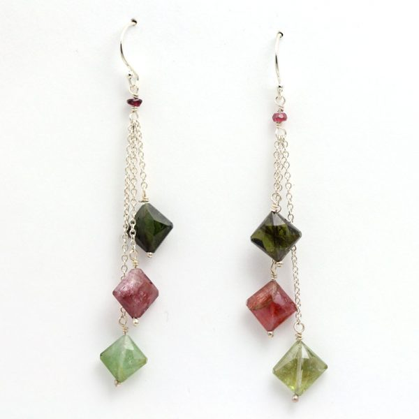 Arte*Vitta Sterling Silver Tiered Tourmaline Earrings