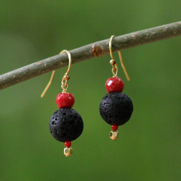 Natalie E.L. Zolg Lava Rock and Coral Earrings