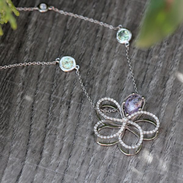 Arte*Vitta 14K White Gold Diamond & Sapphire Morning Glory Slide Pendant