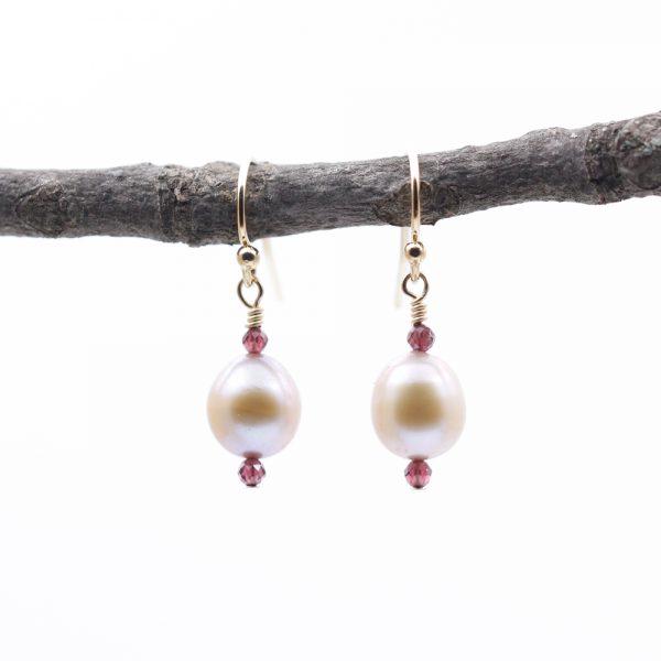 Natalie E.L. Zolg Freshwater Pearl and Garnet Earrings